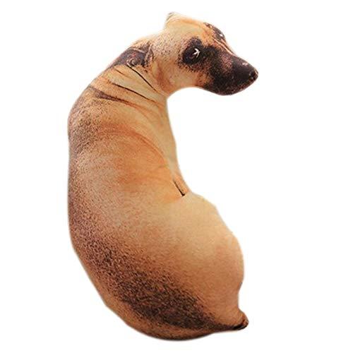 Fanuse 3D Cute Bend Dog Impreso Throw Pillow Animal Realista...
